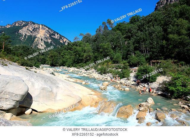 The Esteron Valley, Pont de la Cerise, Prealpes d'Azur regional park, Alpes-Maritimes, Provence-Alpes-Côte d'Azur, France
