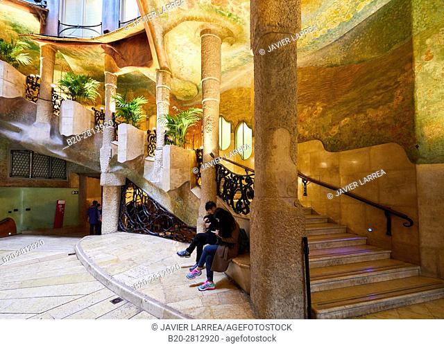 Courtyard, Casa Mila, La Pedrera building, Antoni Gaudi, Barcelona, Catalonia, Spain