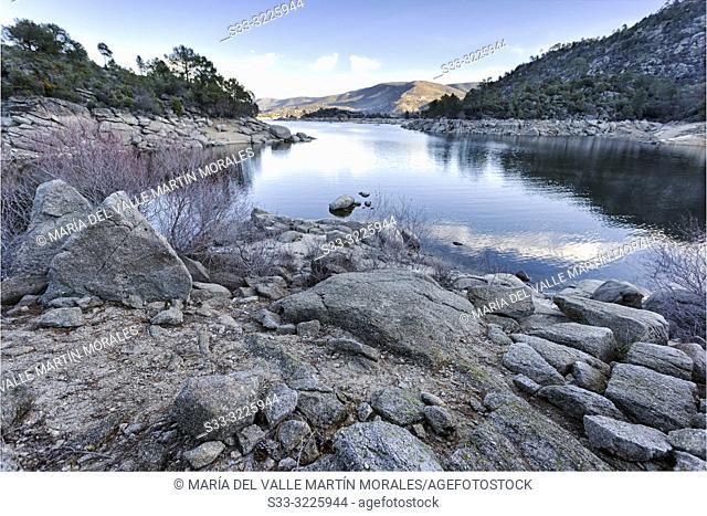 Burguillo reservoir from Iruelas rivermouth. Sierra de Gredos. Avila. Spain. Europe