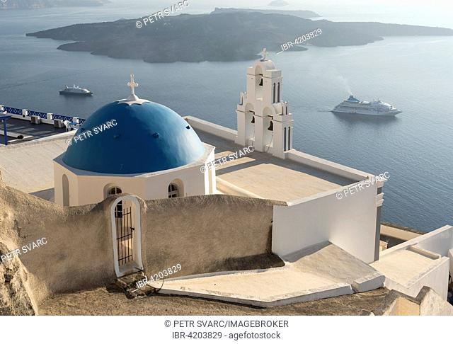 Blue dome and bell-tower of Firostefani Church, Firostefani, Santorini, Greece
