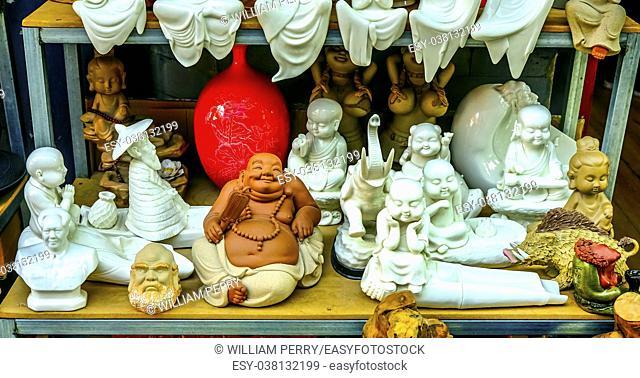 Chinese Replica Ceramic Buddhas Decorations Panjuan Flea Market Decorations Beijing China. Panjuan Flea Curio market has many fakes