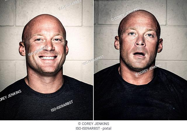 Portraits of young bald man before and after workout