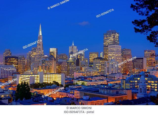 Night cityscape, Downtown San Francisco, California, USA