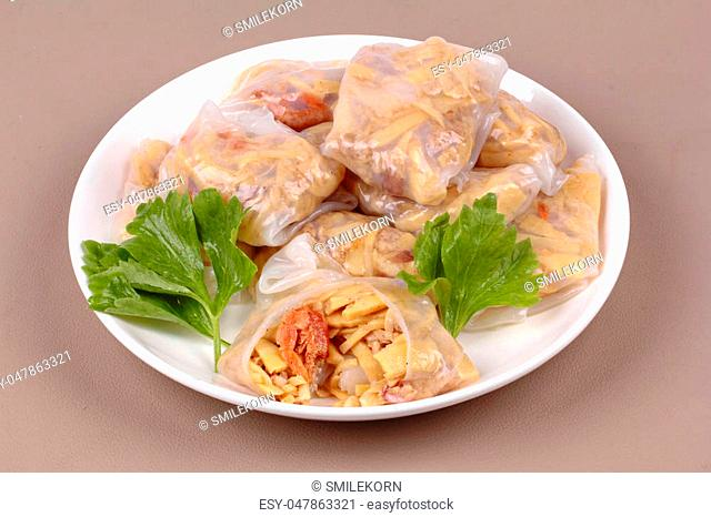 Chinese dessert, Steamed Dumpling stuffed with fried soft bamboo pole shoots,dried shrime and mined pork