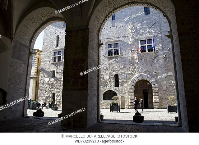 town hall seen from the arches, narni, near terni, umbria, italy
