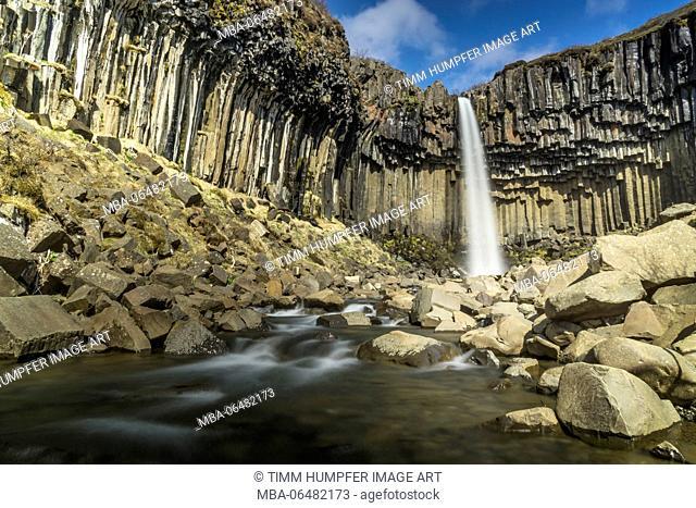Iceland, Skaftafell national park, ring road, Svartifoss