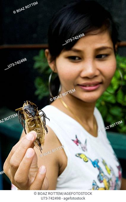 Bugs insects and worms sold as snacks in the street of Bangkok, Thailand
