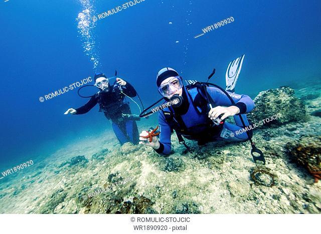 Two Scuba Divers, Adriatic Sea, Dalmatia, Croatia