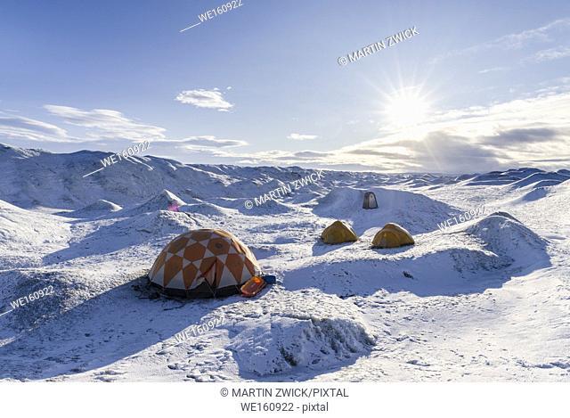 Camp on the ice cap. Landscape on the Greenland Ice Sheet near Kangerlussuaq. America, North America, Greenland, Denmark