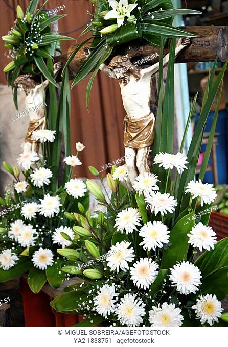 Religious Floral Arrangement with Crhist at Jamaica Market in Colonia Jamaica in Venustiano Carranza borough of Mexico City