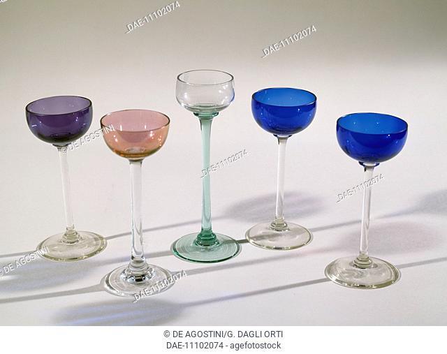 Glass liqueur glasses, ca 1910, attributed to Koloman Moser known as Kolo, Austria, 20th century