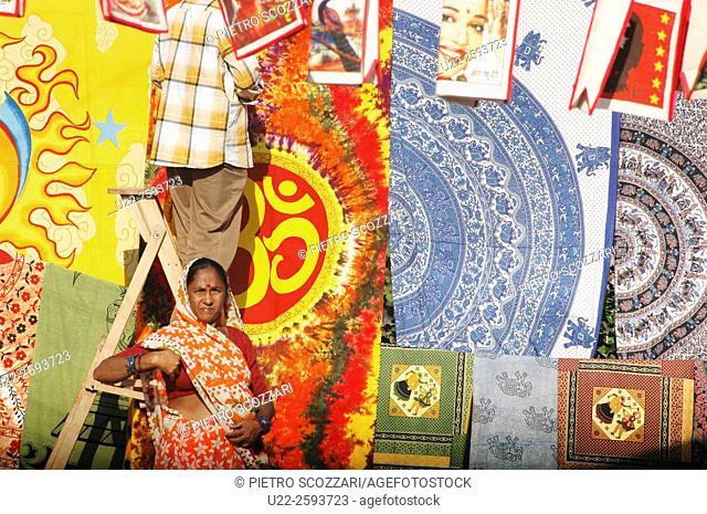 India, Goa, Anjuna Flea Market, sari stall