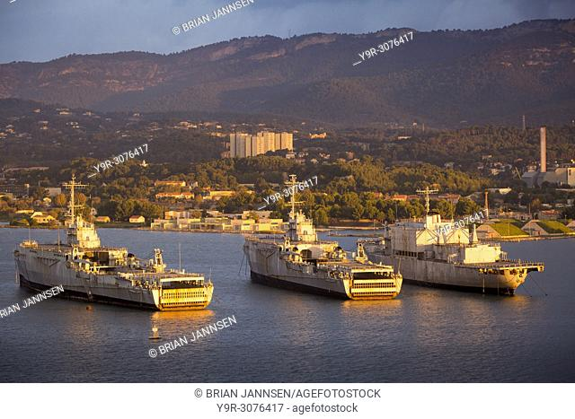 Sunrise over anchored ships of the French Navy at Toulon, Provence, France