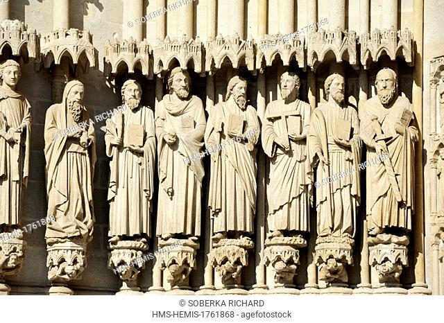 France, Somme, Amiens, Notre Dame Cathedral of Amiens listed as World Heritage by UNESCO, statues to the left of the portal of Judgement day
