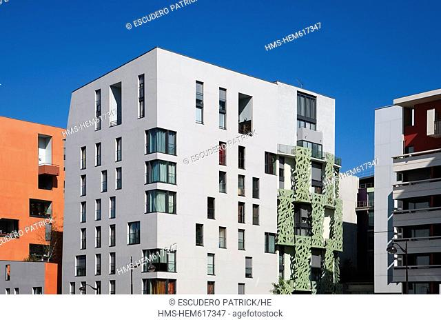 France, Paris, the Bibliotheque Nationale de France BNF Massena Nord district, flat buildings located on Franoise Dolto street