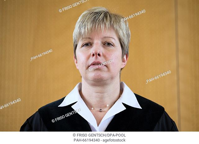 Judge Anke Grudda stands in the courtroom during trial against former Auschwitz SS-guard Reinhold Hanning in Detmold, Germany, 26 February 2016