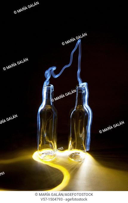 Light-painting with two bottles