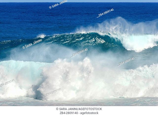 Wave on the Beach at Gris-Gris sea cliffs, Souillac, Mauritius, Indian Ocean, Africa
