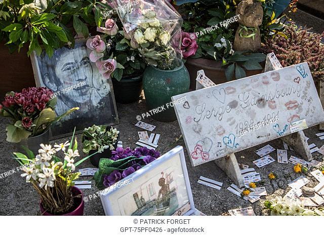 SERGE GAINSBOURG'S GRAVE, MONTPARNASSE CEMETERY, 14TH ARRONDISSEMENT, PARIS, FRANCE
