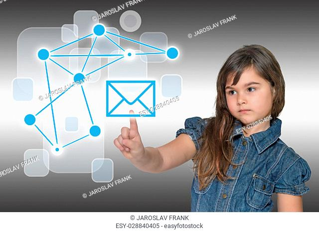 Pensive little girl is touching the blue envelope symbol. All is on on the gray gradient background with social network symbols