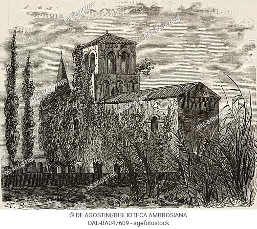 Bassac abbey, France, illustration by P Blanchard from L'Illustration, Journal Universel, No 1291, Volume L, November 23, 1867
