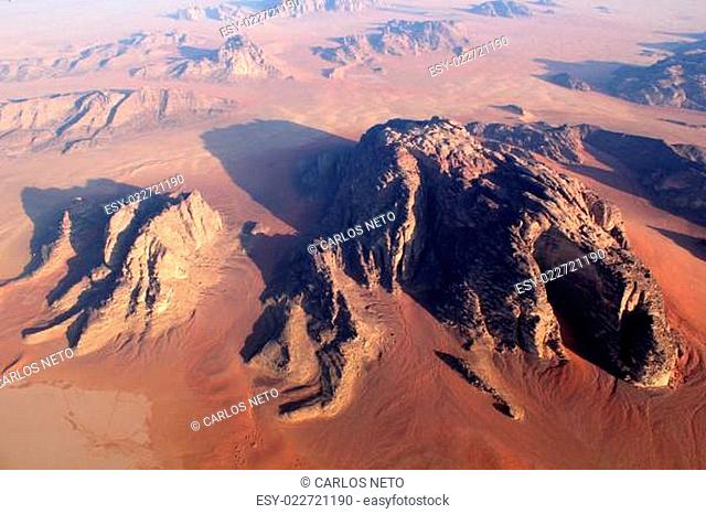 Wadi Rum Desert beautiful landscape from above. Jordan