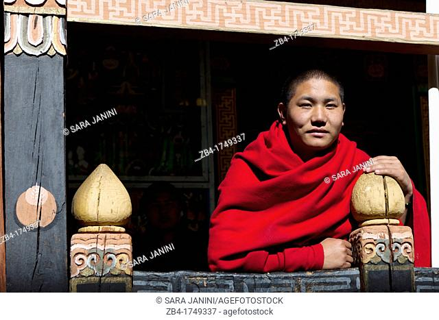 Monk in Ta Dzong, Paro, Bhutan, Asia