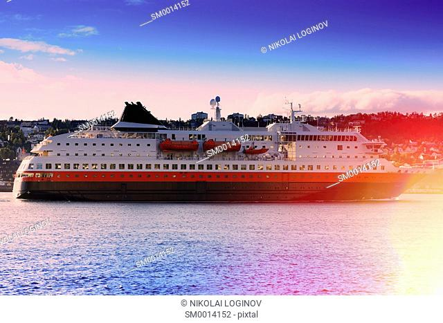 Norway transport ship with light leak background hd