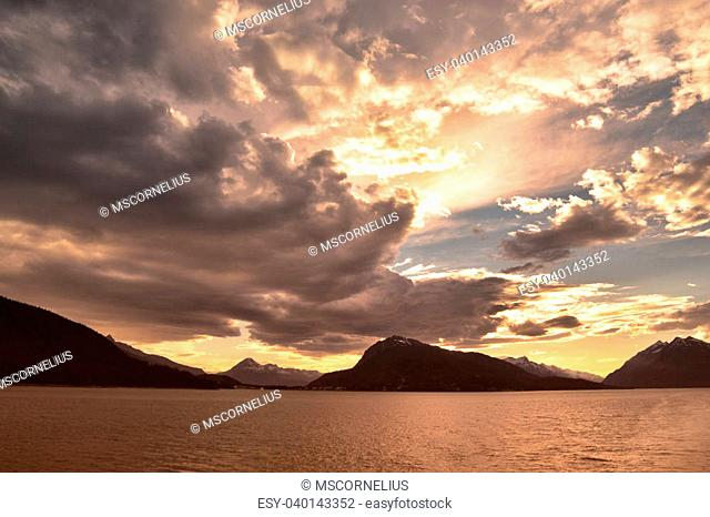 Clouds at sunset from the ferry to Juneau in the Inside Passage in Southeast Alaska