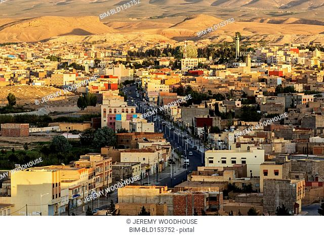 Aerial view of Midelt cityscape in shadow, Morocco