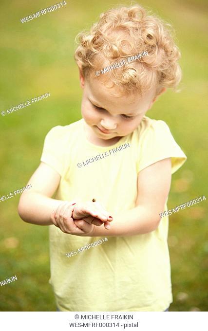 Little girl watching ladybird on her hand