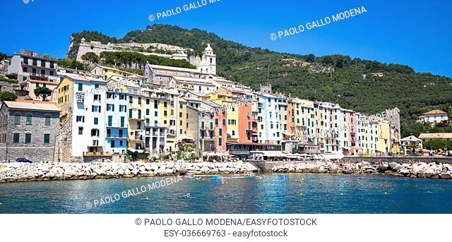 Wonderful postcard of Porto Venere during a sunny day in summer, Italy