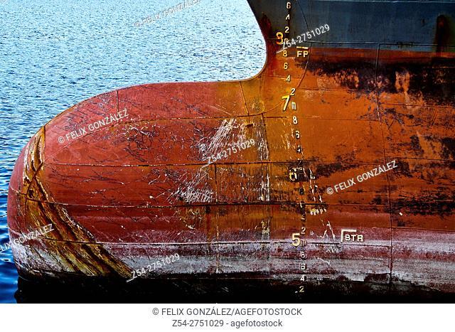 Cargo Ship Prow, Gijon, Asturias, Spain, Europe