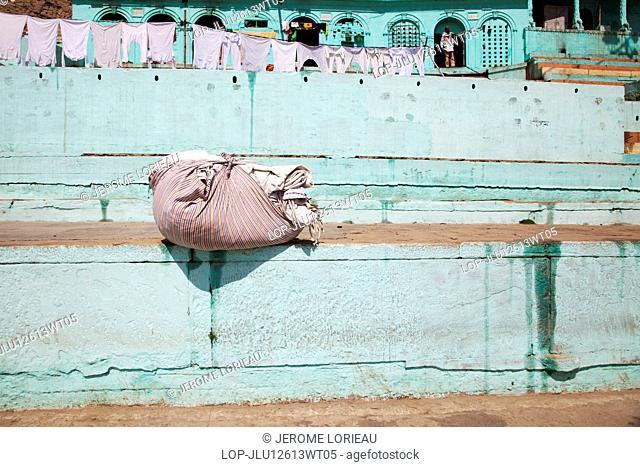 India, Uttar Pradesh, Varanasi. Linen on the Varanasi ghats