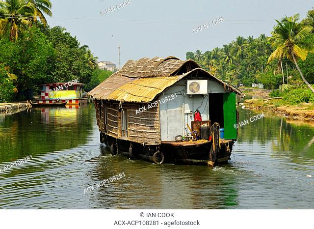houseboat in backwaters between Kollam and Cochin, Kerala, India