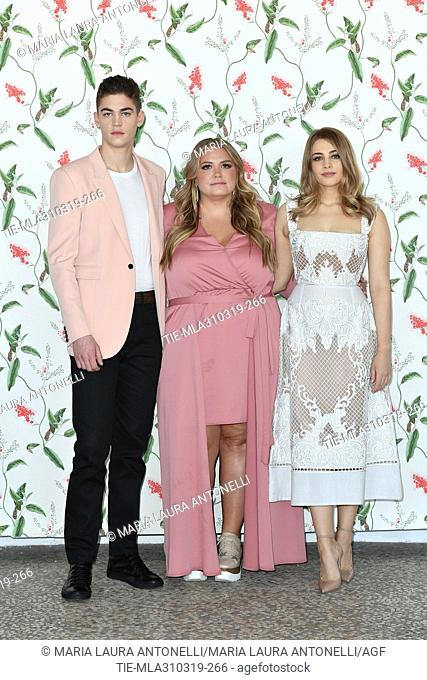 Hero Fiennes Tiffin, Josephine Langford, Anna Todd during the photocall of film ' After' in Rome, ITALY-31-03-2019