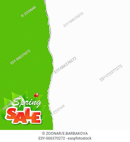 Green Torn Paper Borders And Sale Label