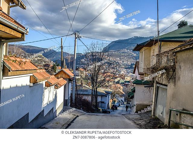 Residential area in the Old Town of Sarajevo, Bosnia and Herzegovina