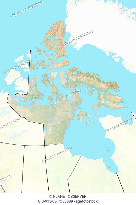 Relief map of Nunavut, Canada. This image was compiled from data acquired by LANDSAT 5 & 7 satellites combined with elevation data