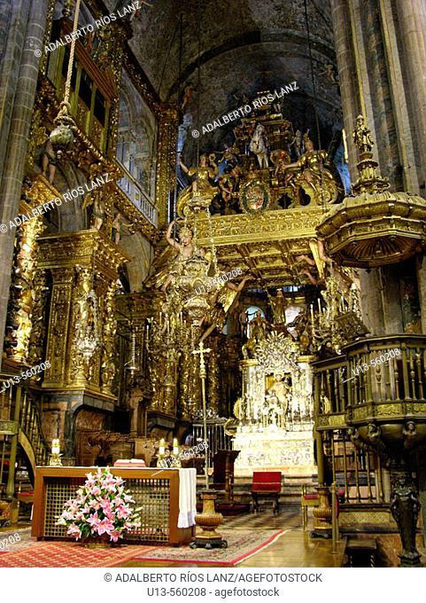 Main Altar Santiago De Compostela Cathedral Galicia Spain