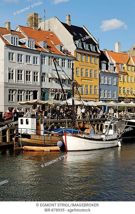 Historic boats in Nyhavn, New Harbour, Copenhagen, Denmark, Scandinavia, Europe