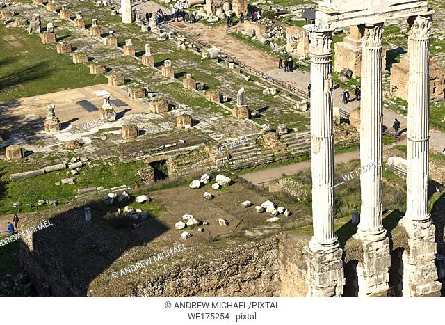 The Roman Forum ruins seen from Palatine Hill. Rome. Lazio. Italy