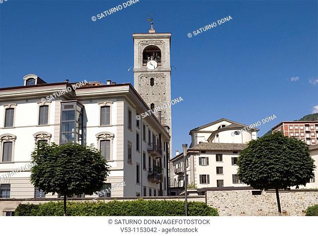 buildings and collegiata tower - Sondrio - Lombardy - Italy