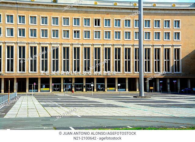 Tempelhof Airport main entrance. Built in 1923, it ceased operating in 2008. Kreutzberg, Berlin, Germany, Europe