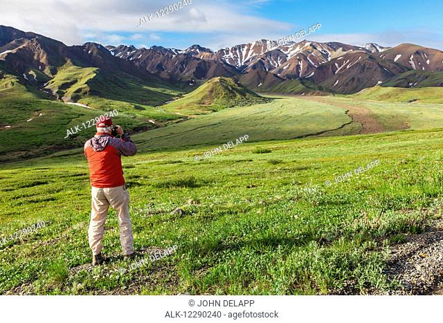View of a senior man in an orange jacket taking a picture of Alaska Range, Grant Creek, and the plain below Highway Pass with lush green tundra and blue sky in...