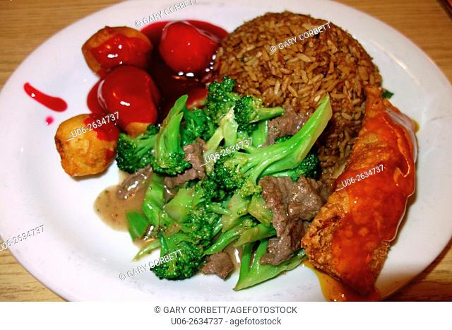 Chinese combo plate of food