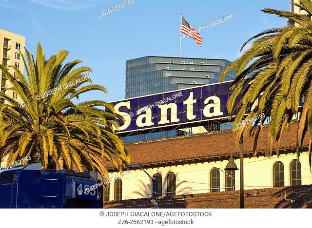 Santa Fe Depot sign, sign, American Flag. Union Station, San Diego, California, USA