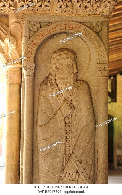 Saint James, relief on a corner pillar, 1100, cloister of Saint-Pierre Abbey (UNESCO World Heritage Site, 1998), Moissac, Occitanie, France, 12th century