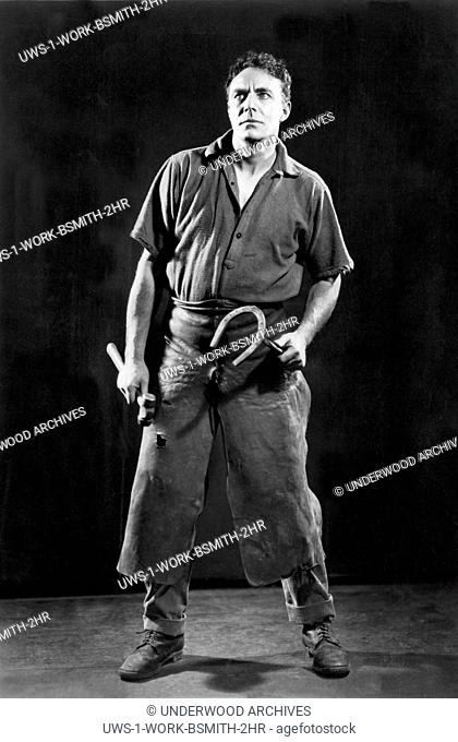 Hollywood, California: 1922.Actor House Peters as a blacksmith in the silent movie, Human Hearts