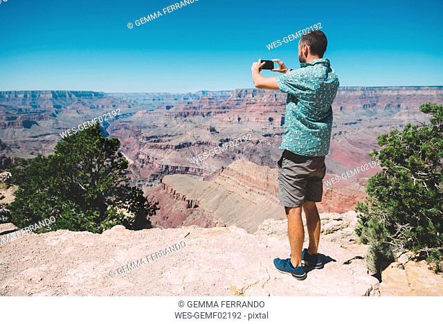 USA, Arizona, Grand Canyon National Park, Grand Canyon, man taking photos with smartphone